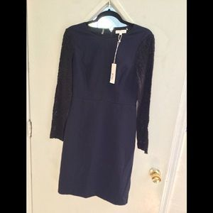Navy blue midi with black lace sleeves